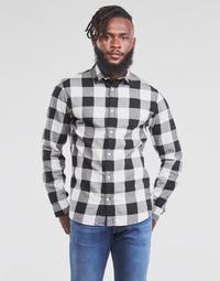 Vêtements Homme Chemises manches longues Jack & Jones JJEGINGHAM Blanc / Noir