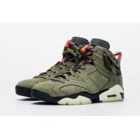 Chaussures Baskets montantes Nike Air Jordan 6 x Travis Scott Olive  Medium Olive/Black-Sail-University Red