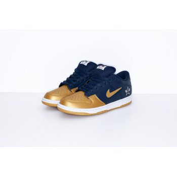 Chaussures Baskets basses Nike SB Dunk Low x Supreme Metallic Gold Navy Metallic Gold/Metallic Gold-Navy-White
