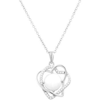 Montres & Bijoux Femme Colliers / Sautoirs Cleor Collier  en Argent 925/1000, Céramique Blanche et Oxyde Blanc