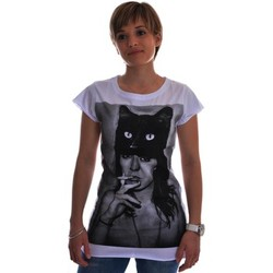 T-shirts manches courtes Spital Fields London tee shirt  black cat coton  blanc
