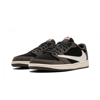Chaussures Baskets basses Nike Air Jordan 1 Low x Stravis Scott Black/Dark Mocha/University Red/Sail