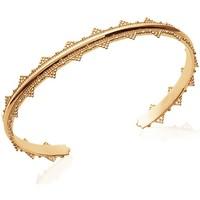 Montres & Bijoux Femme Bracelets Brillaxis Jonc  ouvert  Baroque plaqué or 60 mm Jaune