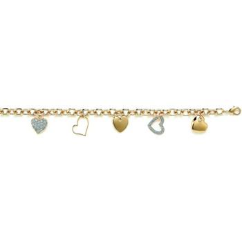 Montres & Bijoux Femme Bracelets Brillaxis Bracelet  pampilles coeurs plaqué or Jaune