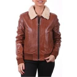Vêtements Vestes en cuir / synthétiques Ladc Romy Cognac (avec col) Cognac