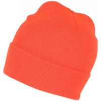 Accessoires textile Bonnets Nyls Création Bonnet Orange Fluo en Laine Fashion et Chaud avec Revers Eric Orange