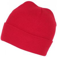 Accessoires textile Bonnets Nyls Création Bonnet Rouge en Laine Tendance et Confort avec Revers Eric Rouge