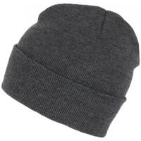 Accessoires textile Bonnets Nyls Création Bonnet Gris Fonce Tendance et Confort en Laine avec Revers Eric Gris