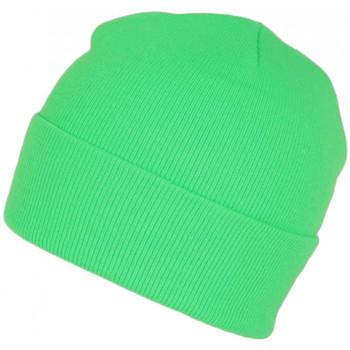 Accessoires textile Bonnets Nyls Création Bonnet Vert Fluo en Laine Fashion et Chaud avec Revers Eric Vert