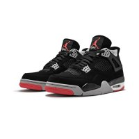 Chaussures Baskets montantes Nike Air Jordan 4 Bred Black/Cement Grey-Summit White-Fire Red