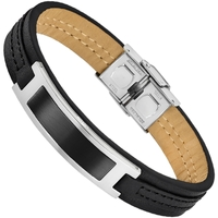 Montres & Bijoux Homme Bracelets Lotus Bracelet  homme cuir et acier noir Noir