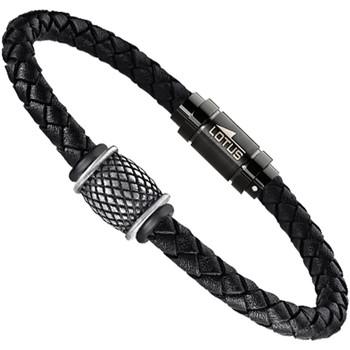 Montres & Bijoux Homme Bracelets Lotus Bracelet homme  Dark Style acier cuir noir Noir