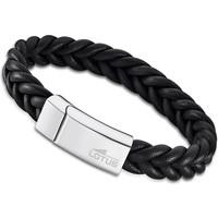 Montres & Bijoux Homme Bracelets Lotus Bracelet homme  cuir tressé noir Blanc