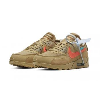 Chaussures Baskets basses Nike Air Max 90 x Off White Desert Ore Parachute Beige/Bright Mango