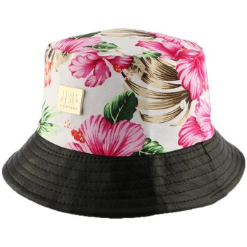 Chapeaux Jbb Couture Bob  florale Ecru avec revers similli cuir