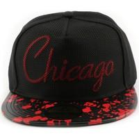 Accessoires textile Casquettes Hip Hop Honour Snapback Hip Hop Chicago noire et rouge Noir