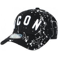 Accessoires textile Casquettes Hip Hop Honour Casquette ICON Noire et Blanche Taguee Streetwear Baseball Noir