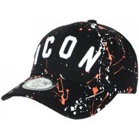 Accessoires textile Casquettes Hip Hop Honour Casquette ICON Orange et Noire Taguee Streetwear Baseball Noir