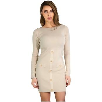 Vêtements Femme Robes courtes Kebello Robe Pull bouton doré Taille : F Beige XS Beige