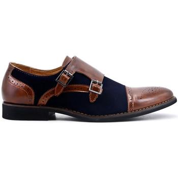 Chaussures Homme Derbies Uomo Design Soulier double boucle cognac