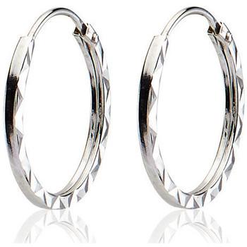 Montres & Bijoux Femme Boucles d'oreilles Cleor Créoles  en Or 375/1000 Blanc Blanc