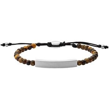 Montres & Bijoux Bracelets Fossil Bracelet  en Acier et Œil De Tigre Marron Blanc