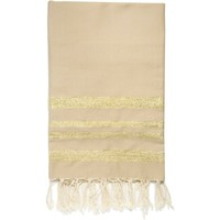 Maison Serviettes de table Nappes, Sets de table Febronie HAMPTONS - Nappe en coton 150x250 Beige et doré