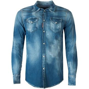 Vêtements Homme Chemises manches longues Dsquared  Bleu