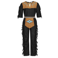 Vêtements Homme Déguisements Fun Costumes COSTUME ADULTE INDIENNE SHE-WOLF Multicolore