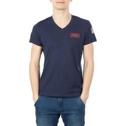 Vêtements Homme T-shirts manches courtes Nasa BASIC FLAG V NECK Bleu