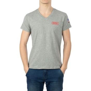 Vêtements Homme T-shirts manches courtes Nasa BASIC FLAG V NECK Gris