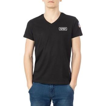 Vêtements Homme T-shirts manches courtes Nasa BASIC FLAG V NECK Noir