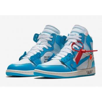 Chaussures Baskets basses Nike Air Jordan 1 High x Off White UNC White/Cone-Dark Powder Blue