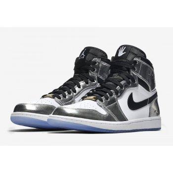 Chaussures Baskets montantes Nike Air Jordan 1 High Pass The Torch CHROME/BLACK-WHITE-TURBO GREEN