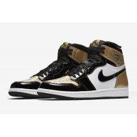 Chaussures Baskets montantes Nike Air Jordan 1 High Gold Toe Black/Black-Metallic Gold-White