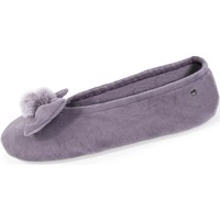 Chaussures Femme Chaussons Isotoner Chaussons ballerines nœud pompon Gris