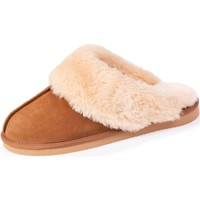 Chaussures Femme Chaussons Isotoner Chaussons mules cuir et fausse fourrure Camel