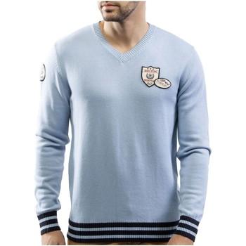 Vêtements Homme Pulls Shilton Pull col V patch coton laine Bleu ciel