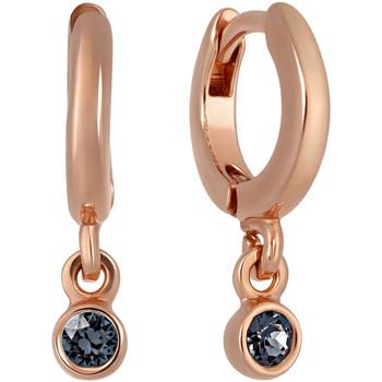 Montres & Bijoux Femme Boucles d'oreilles Mademoiselle Jolie Paris XAVIER creoles avec pendentif NOIR