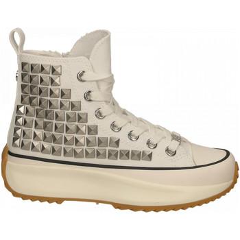 Chaussures Femme Baskets montantes Steve Madden SHARK FABRIC W/STUD white
