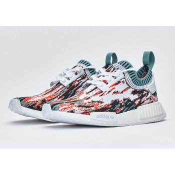 Chaussures Baskets basses adidas Originals NMD R1 Primeknit datamosh Orange White/Vapour Steel/Collegiate Orange