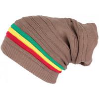 Accessoires textile Bonnets Nyls Création Bonnet Tube Marron Rasta Oversize en Laine Tendance Jaïca Marron