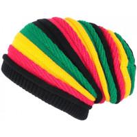 Accessoires textile Bonnets Nyls Création Bonnet Rasta Rouge Jaune Vert Jamaicain Laine fashion Jack Jaune