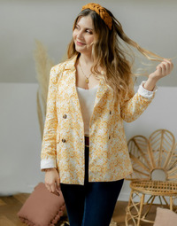 Vêtements Femme Vestes / Blazers Céleste ALIZE Jaune / Blanc