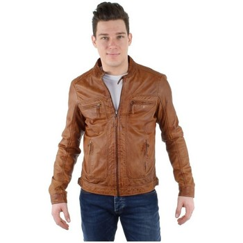 Vêtements Homme Blousons Oakwood Blouson  Casey en cuir ref_cco34483 Cognac Marron