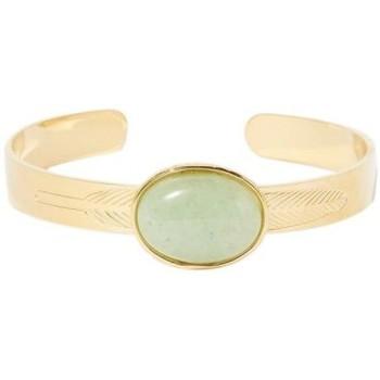 Montres & Bijoux Femme Bracelets Mes-Bijoux.fr Bracelet acier doré à l'or fin et jade Doré