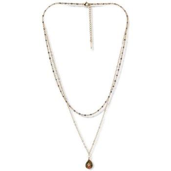 Montres & Bijoux Femme Coton Du Monde Mes-Bijoux.fr Collier acier doré à l'or fin et unakite Doré