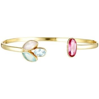 Montres & Bijoux Femme Bracelets Mes-Bijoux.fr Bracelet jonc ouvert laiton doré monté d'une ca Doré