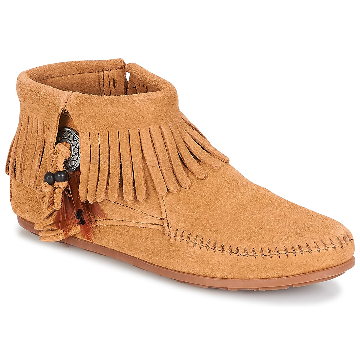 Minnetonka CONCHO FEATHER SIDE ZIP BOOT Taupe