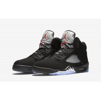 Chaussures Baskets montantes Nike Air Jordan 5 Black Metallic Silver Black/Fire Red-Metallic Silver-White